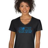 Ladies' Missy Fit Short-Sleeve V-Neck T-Shirt w/Glitter Logo (G5000VLG)